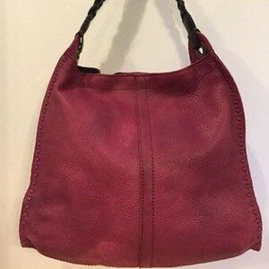 Lucky Brand Red Leather Shoulder Bag Boho Tote